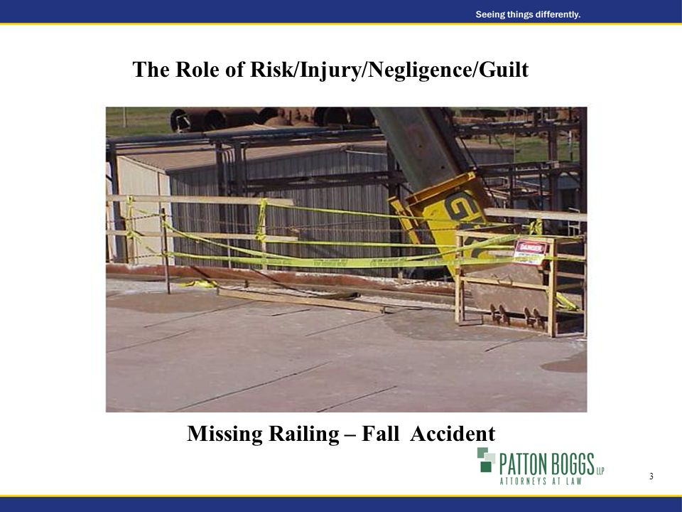 Missing Railing – Fall Accident The Role of Risk/Injury/Negligence/Guilt 3