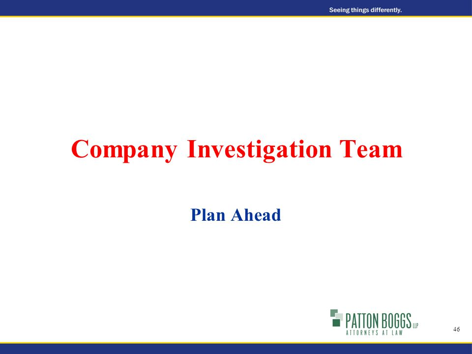 Company Investigation Team Plan Ahead 46
