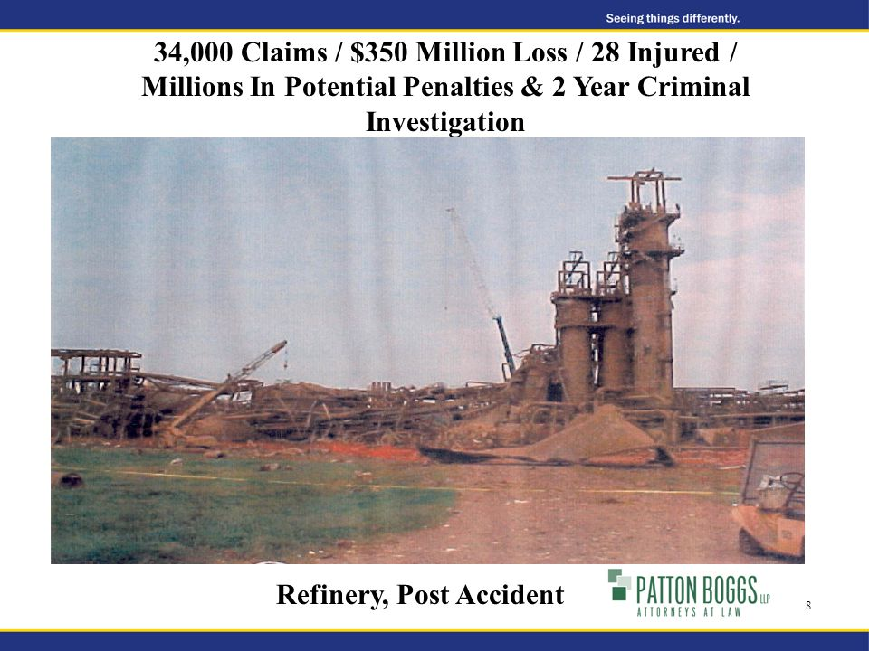 Refinery, Post Accident 34,000 Claims / $350 Million Loss / 28 Injured / Millions In Potential Penalties & 2 Year Criminal Investigation 8