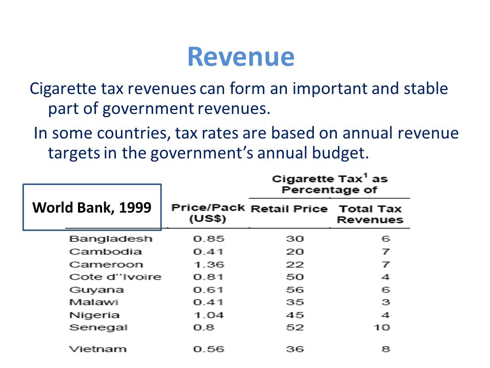 Revenue Cigarette tax revenues can form an important and stable part of government revenues.