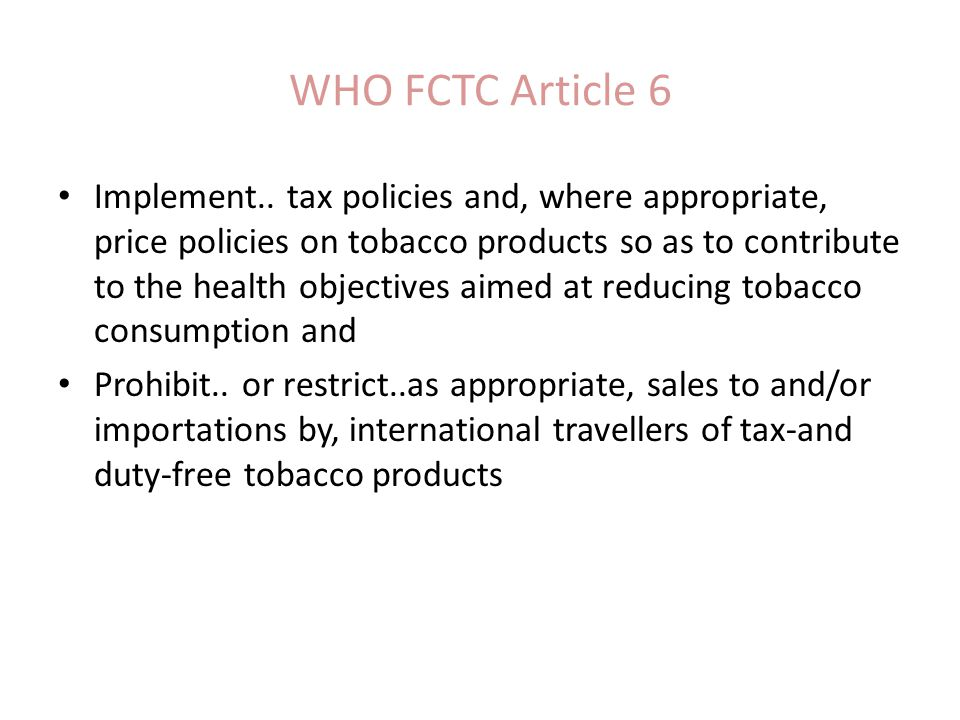 WHO FCTC Article 6 Implement..