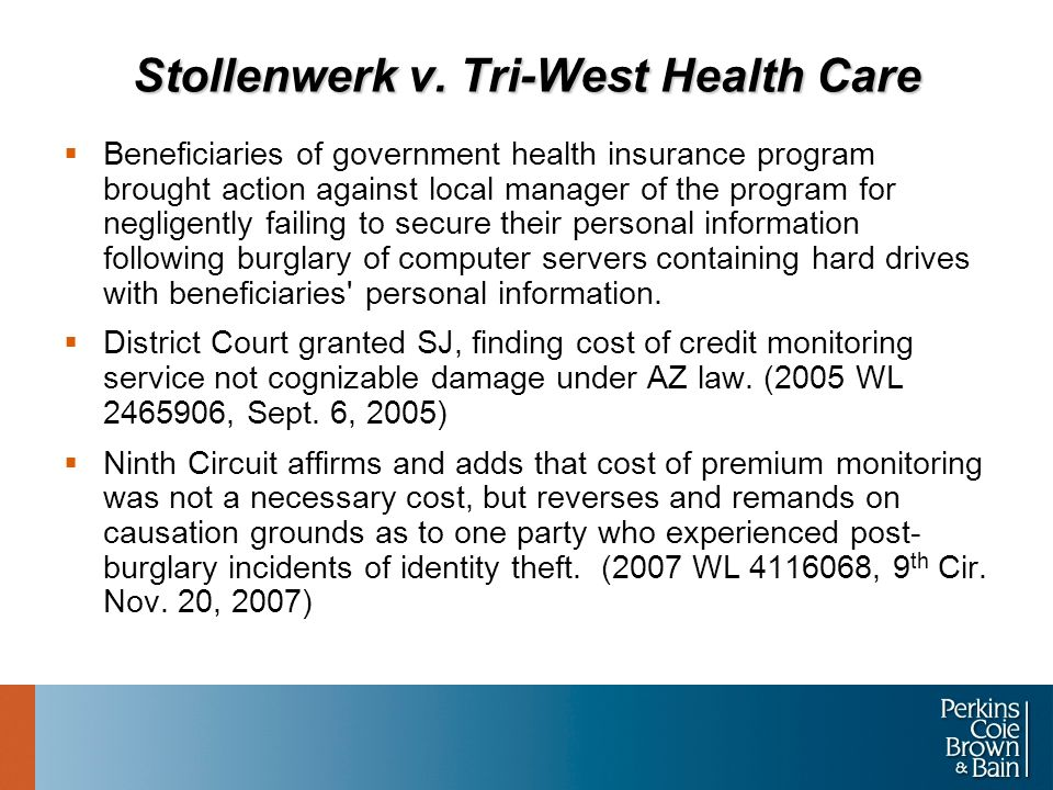 Stollenwerk v. Tri-West Health Care  Beneficiaries of government health insurance program brought action against local manager of the program for neg