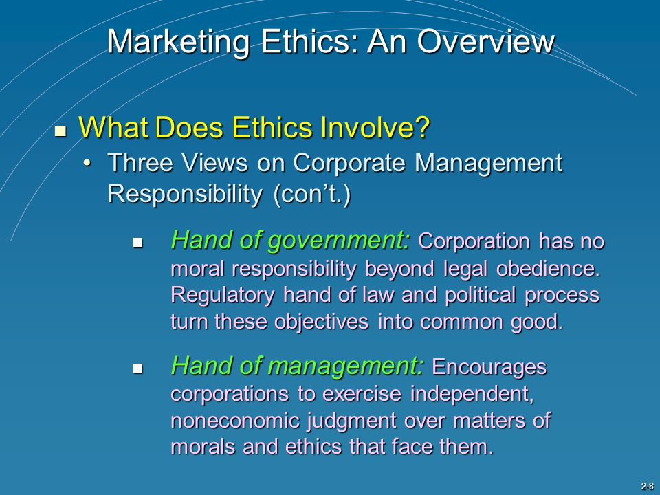 2-8 Three Views on Corporate Management Responsibility (con't.)Three Views on Corporate Management Responsibility (con't.) Hand of government: Corpora