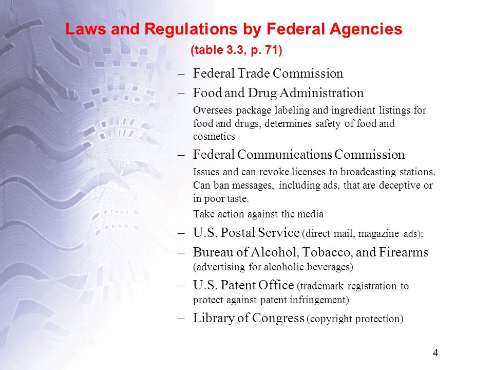 4 Laws and Regulations by Federal Agencies (table 3.3, p.