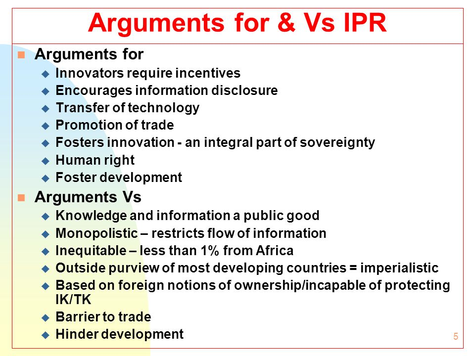 6 Forms of IP n Patents: Inventions – new, non-obvious & industrially applicable u Not previously known/described; step forward in technology (PHOSITA – objective, universal); practical utility in industry u Exclusive monopoly rights: prevent others from making, using, selling, offering for sale patented product or product made using patented process n Trade/service marks and trade names: symbol/Word/phrase/design used to distinguish goods/services of one person from those of others (Vs unfair competition; advertising function) n Industrial designs : relate to aesthetic aspects of article Vs functionality (appeal to the eye of prospective buyer) n Trade Secrets/Confidential information: Undisclosed information against acquisition & use contrary to honest commercial practices.