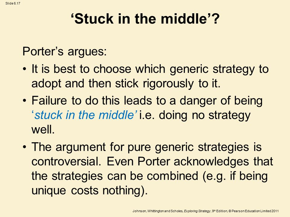 Slide 6.17 Johnson, Whittington and Scholes, Exploring Strategy, 9 th Edition, © Pearson Education Limited 2011 'Stuck in the middle'.