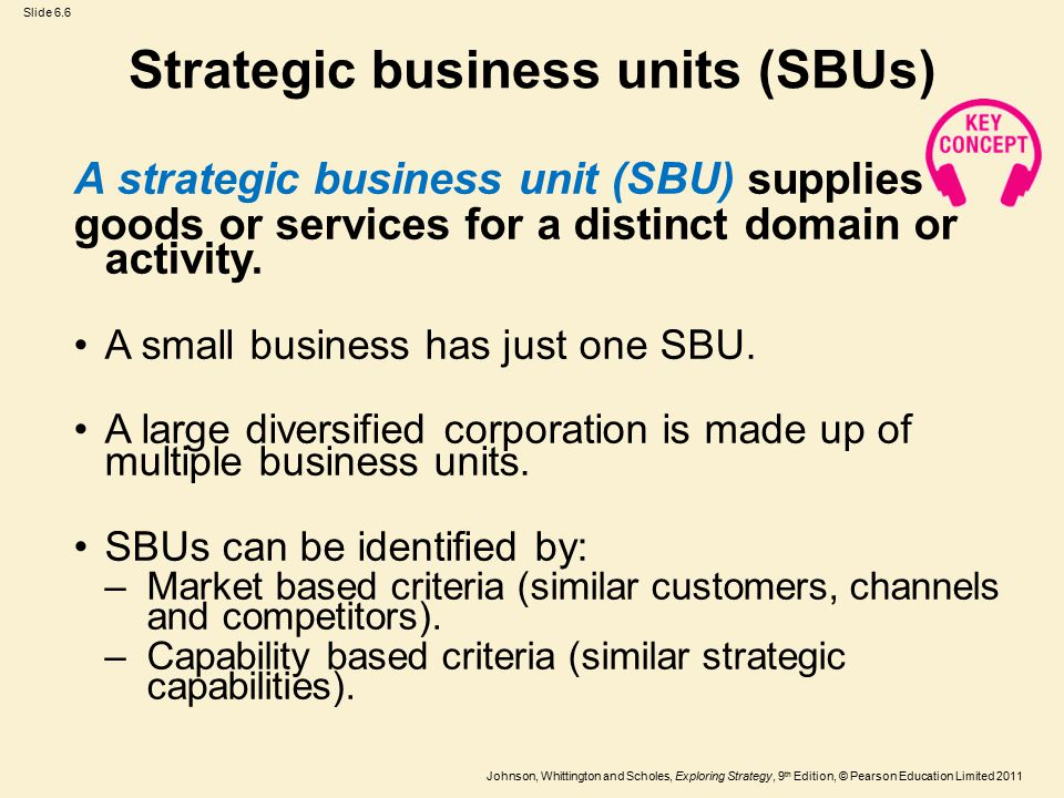 Slide 6.6 Johnson, Whittington and Scholes, Exploring Strategy, 9 th Edition, © Pearson Education Limited 2011 Strategic business units (SBUs) A strategic business unit (SBU) supplies goods or services for a distinct domain or activity.
