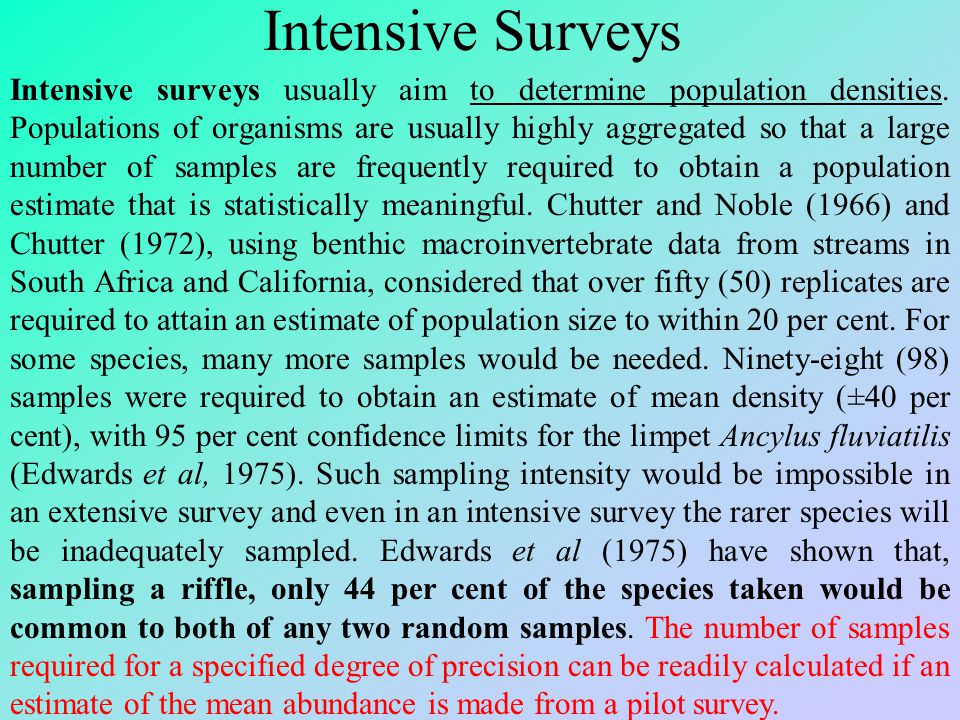 Intensive Surveys Intensive surveys usually aim to determine population densities. Populations of organisms are usually highly aggregated so that a la