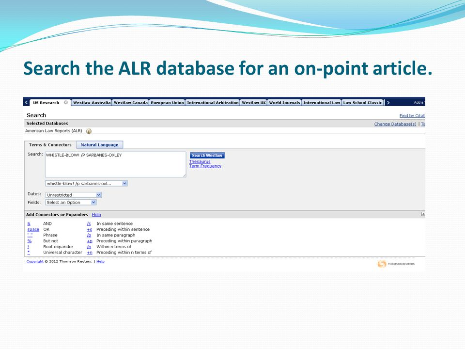 Search the ALR database for an on-point article.