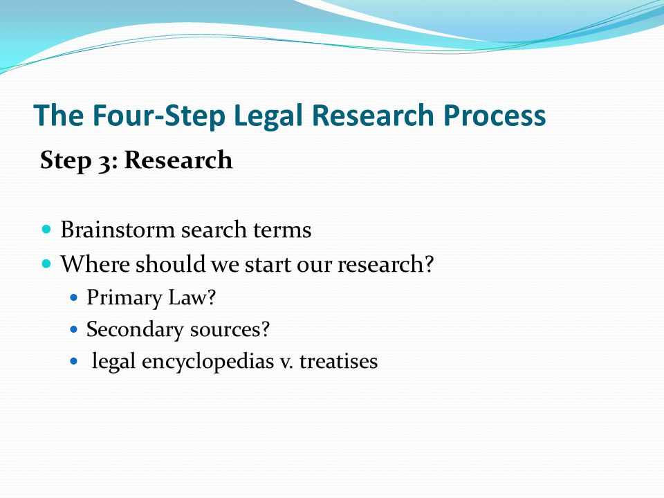 The Four-Step Legal Research Process Step 3: Research Brainstorm search terms Where should we start our research.