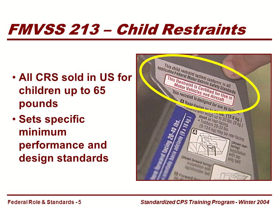 Standardized CPS Training Program - Winter 2004 FMVSS 213 – Child Restraints All CRS sold in US for children up to 65 pounds Sets specific minimum performance and design standards Federal Role & Standards - 5