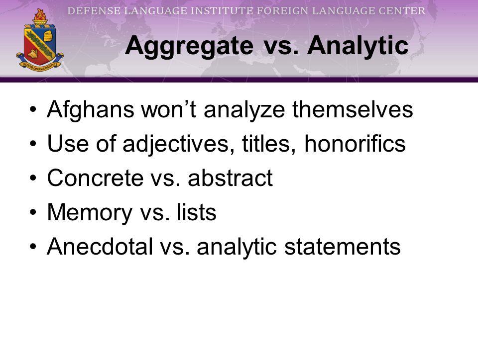 Aggregate vs.