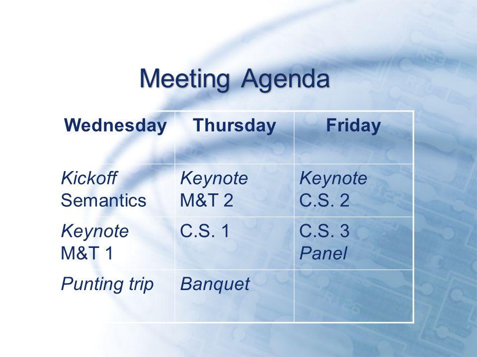Meeting Agenda WednesdayThursdayFriday Kickoff Semantics Keynote M&T 2 Keynote C.S.