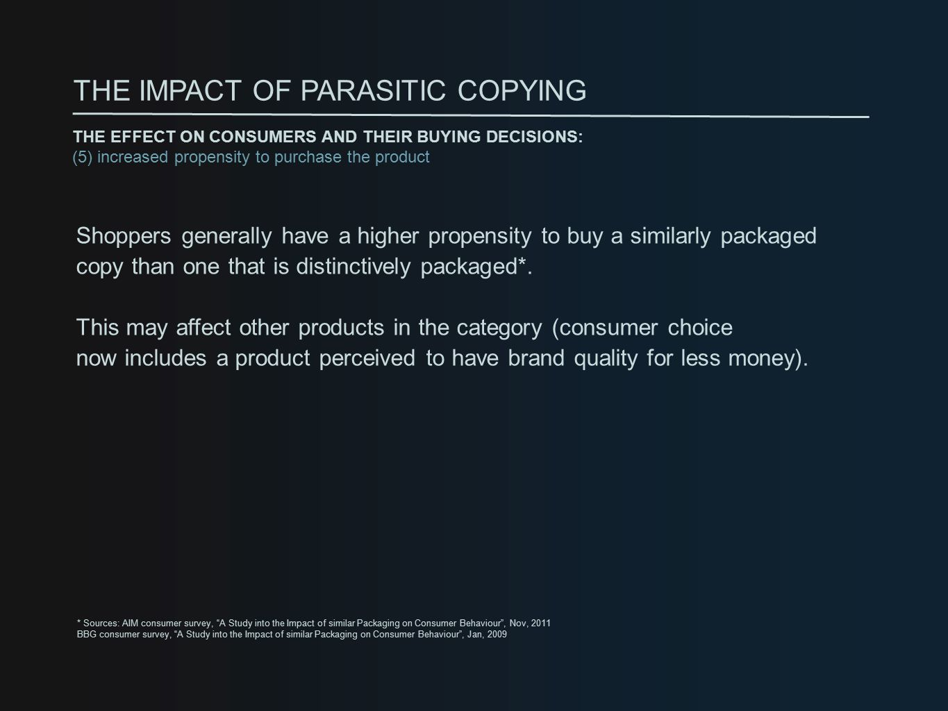 Shoppers generally have a higher propensity to buy a similarly packaged copy than one that is distinctively packaged*.