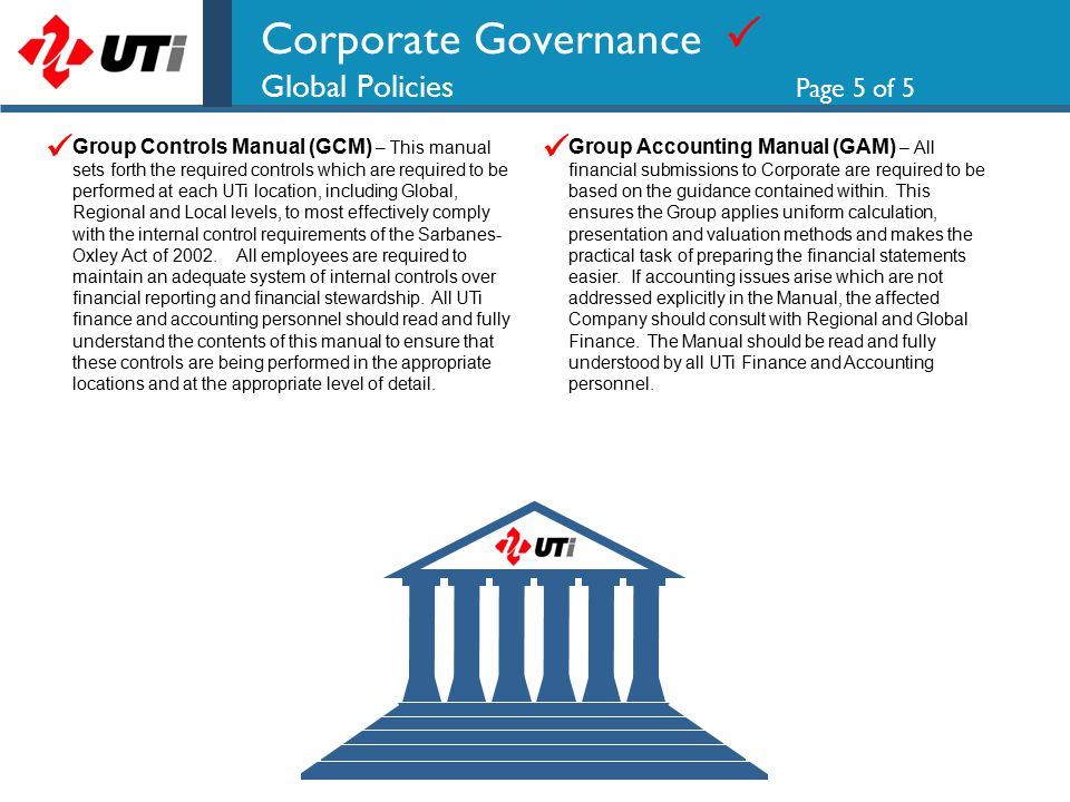 Corporate Governance  Global Policies Page 5 of 5 Group Controls Manual (GCM) – This manual sets forth the required controls which are required to be performed at each UTi location, including Global, Regional and Local levels, to most effectively comply with the internal control requirements of the Sarbanes- Oxley Act of 2002.