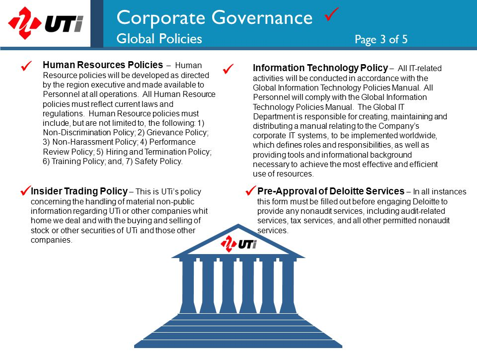 Corporate Governance  Global Policies Page 4 of 5 Reporting & Disclosure – All Personnel who provide reports or information of any kind, will ensure that they are accurate, consistent and complete, and submitted at the appropriate time.