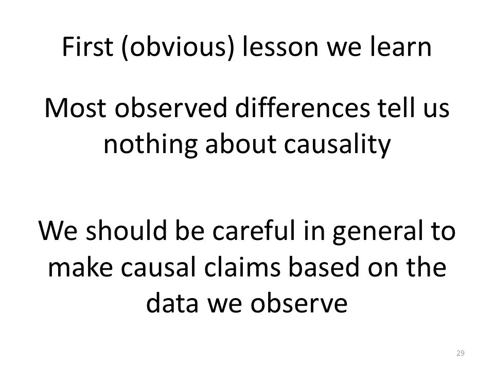 First (obvious) lesson we learn Most observed differences tell us nothing about causality We should be careful in general to make causal claims based on the data we observe 29