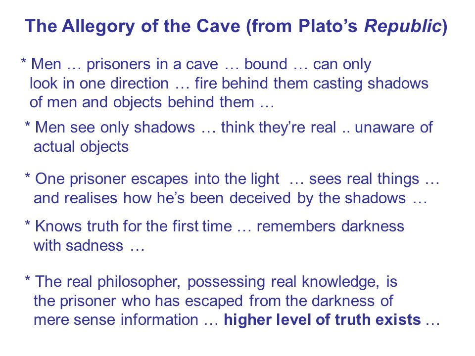 The Allegory of the Cave (from Plato's Republic) * Men … prisoners in a cave … bound … can only look in one direction … fire behind them casting shadows of men and objects behind them … * Men see only shadows … think they're real..