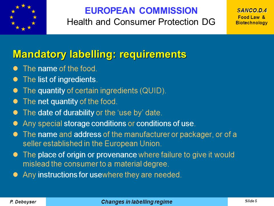 SANCO.D.4 Food Law & Biotechnology EUROPEAN COMMISSION Health and Consumer Protection DG P.