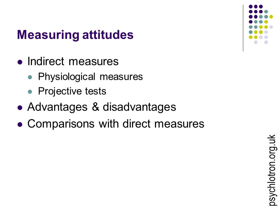 Measuring attitudes Indirect measures Physiological measures Projective tests Advantages & disadvantages Comparisons with direct measures psychlotron.org.uk