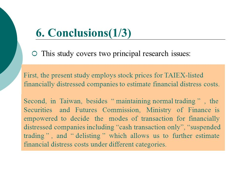  This study covers two principal research issues: 6. Conclusions(1/3) First, the present study employs stock prices for TAIEX-listed financially dist