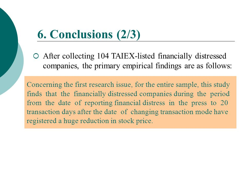  After collecting 104 TAIEX-listed financially distressed companies, the primary empirical findings are as follows: 6. Conclusions (2/3) Concerning t