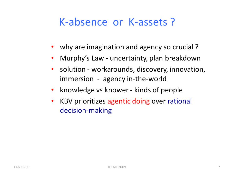 K-absence or K-assets . why are imagination and agency so crucial .