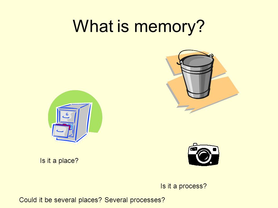 What is memory Is it a place Is it a process Could it be several places Several processes