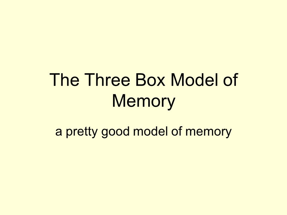 The Three Box Model of Memory a pretty good model of memory