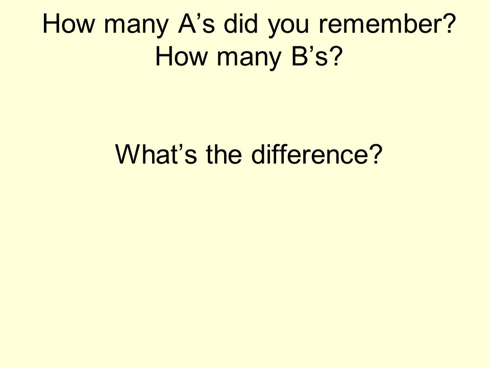 How many A's did you remember How many B's What's the difference