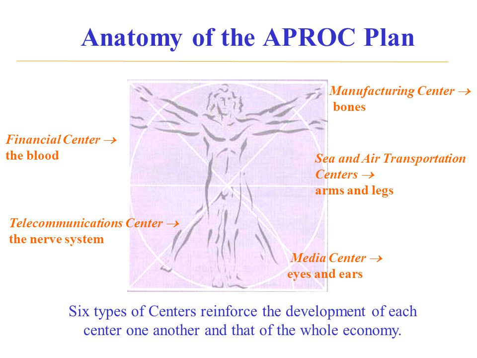 Anatomy of the APROC Plan Manufacturing Center  bones Sea and Air Transportation Centers  arms and legs Media Center  eyes and ears Financial Cente