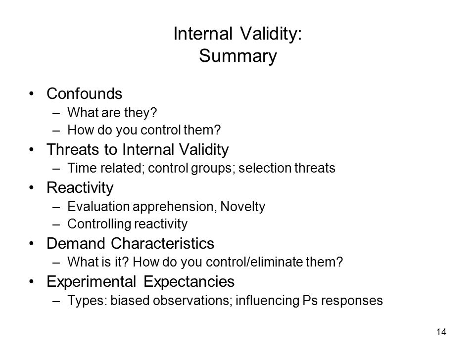 14 Internal Validity: Summary Confounds –What are they.