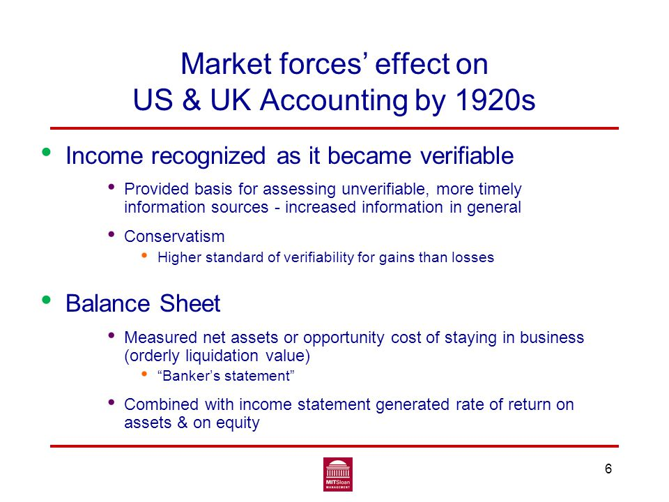 6 Market forces' effect on US & UK Accounting by 1920s Income recognized as it became verifiable Provided basis for assessing unverifiable, more timely information sources - increased information in general Conservatism Higher standard of verifiability for gains than losses Balance Sheet Measured net assets or opportunity cost of staying in business (orderly liquidation value) Banker's statement Combined with income statement generated rate of return on assets & on equity