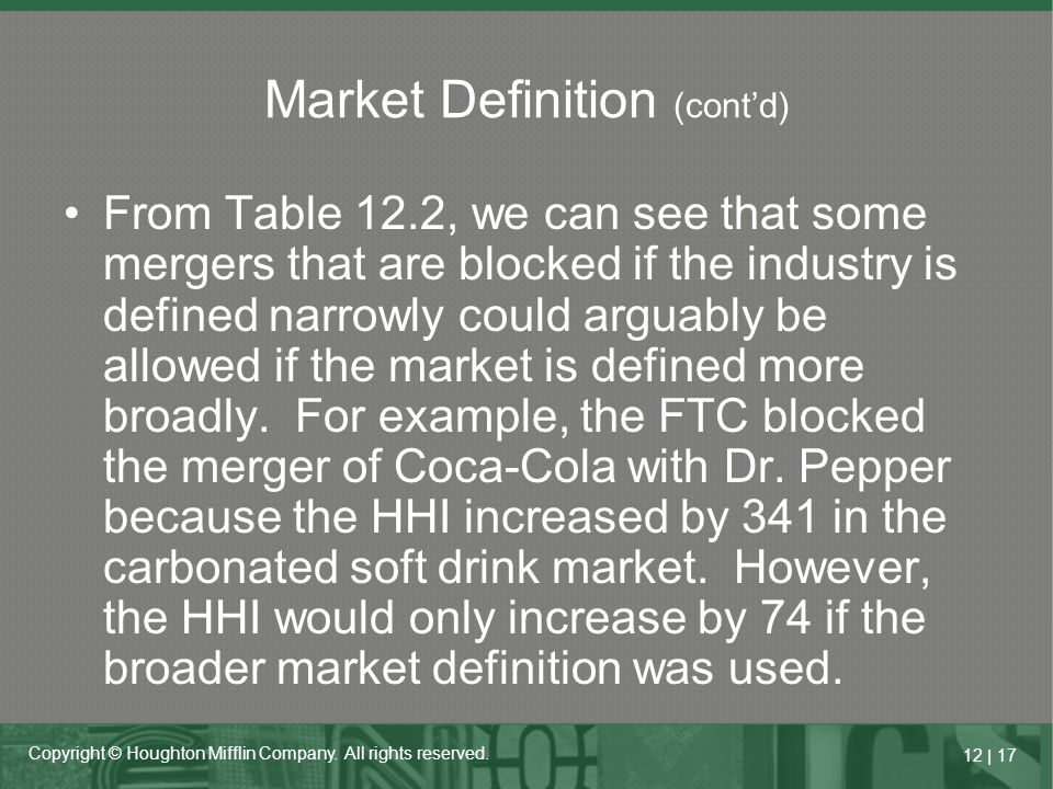 12   17 Copyright © Houghton Mifflin Company. All rights reserved. From Table 12.2, we can see that some mergers that are blocked if the industry is d