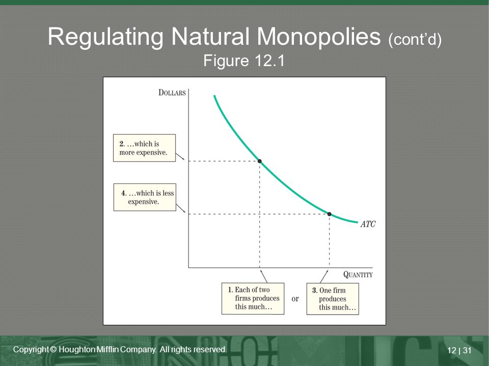 12   31 Copyright © Houghton Mifflin Company. All rights reserved. Regulating Natural Monopolies (cont'd) Figure 12.1