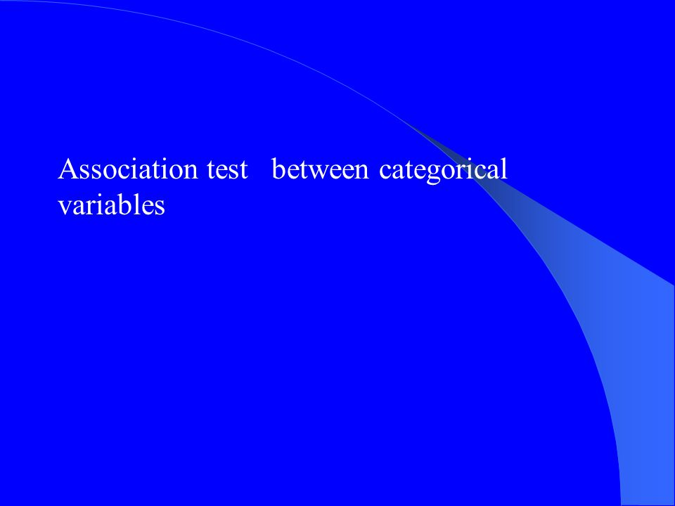 Association test between categorical variables