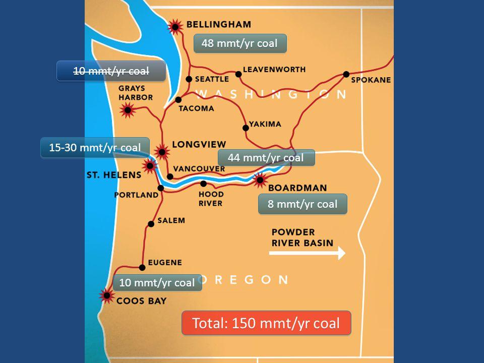 48 mmt/yr coal 8 mmt/yr coal 10 mmt/yr coal 44 mmt/yr coal 15-30 mmt/yr coal 10 mmt/yr coal Total: 150 mmt/yr coal