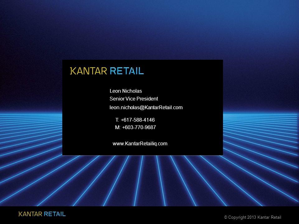 © Copyright 2013 Kantar Retail www.KantarRetailiq.com Leon Nicholas T: +617-588-4146 Senior Vice President leon.nicholas@KantarRetail.com M: +603-770-9687