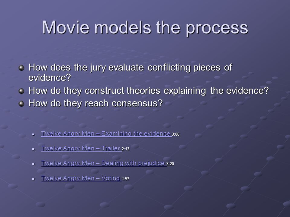 Movie models the process How does the jury evaluate conflicting pieces of evidence.