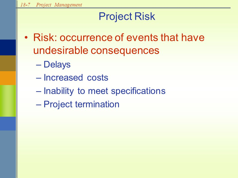 18-8Project Management Identify potential risks Analyze and assess risks Work to minimize occurrence of risk Establish contingency plans Risk Management