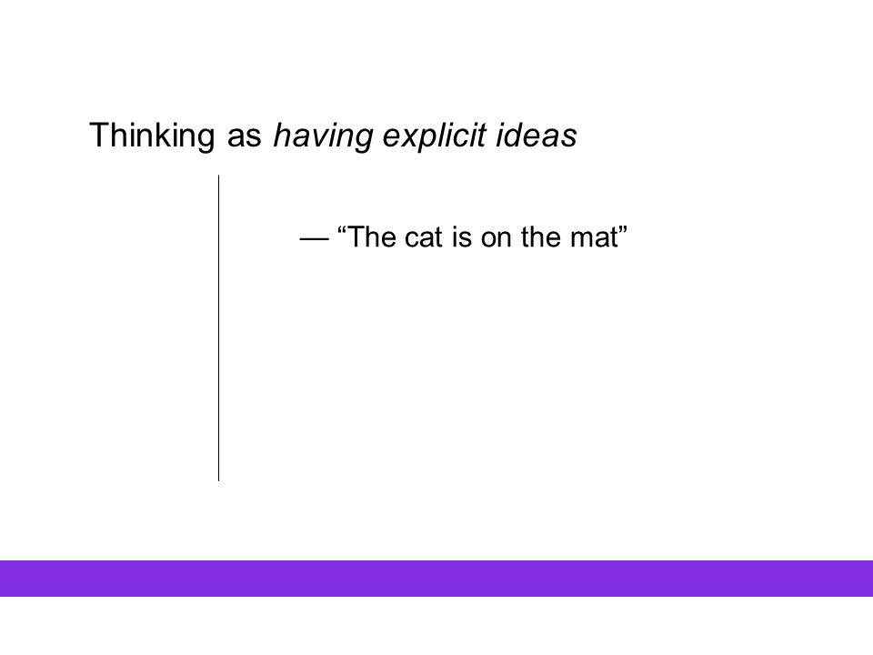 "Thinking as having explicit ideas — ""The cat is on the mat"""