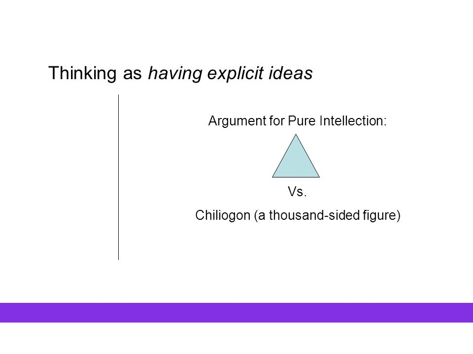 Thinking as having explicit ideas Argument for Pure Intellection: Vs. Chiliogon (a thousand-sided figure)