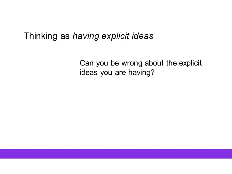 Thinking as having explicit ideas Can you be wrong about the explicit ideas you are having?