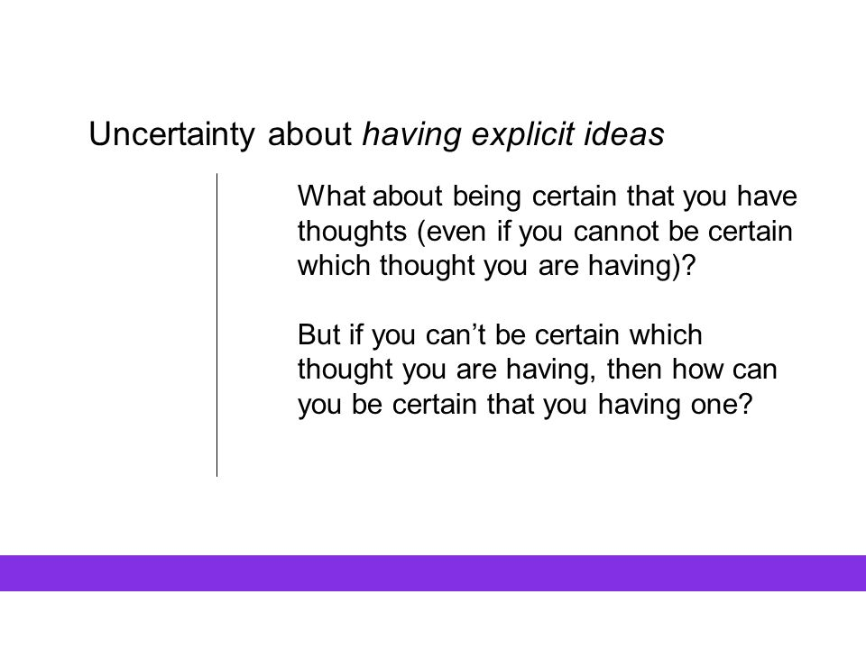 Uncertainty about having explicit ideas What about being certain that you have thoughts (even if you cannot be certain which thought you are having)?