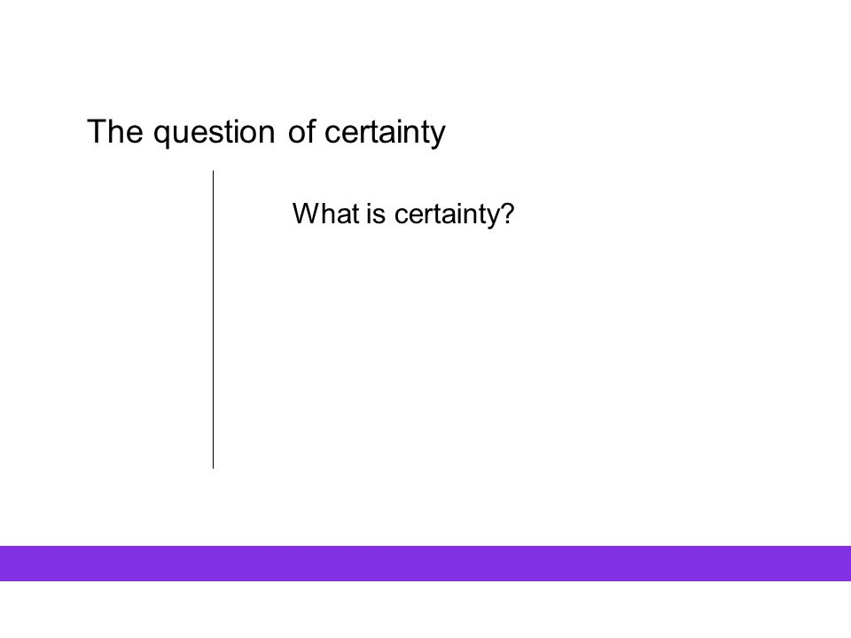 The question of certainty What is certainty.