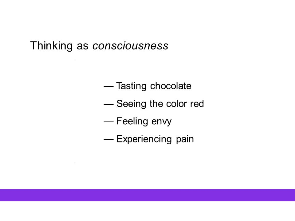 Thinking as consciousness — Tasting chocolate — Seeing the color red — Feeling envy — Experiencing pain