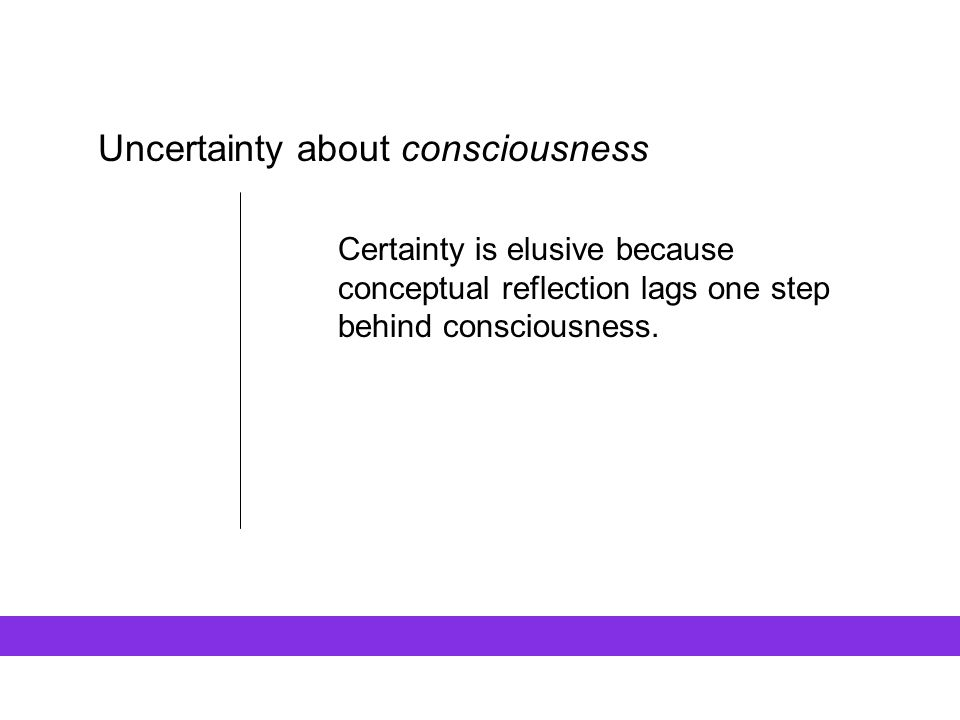 Uncertainty about consciousness Certainty is elusive because conceptual reflection lags one step behind consciousness.