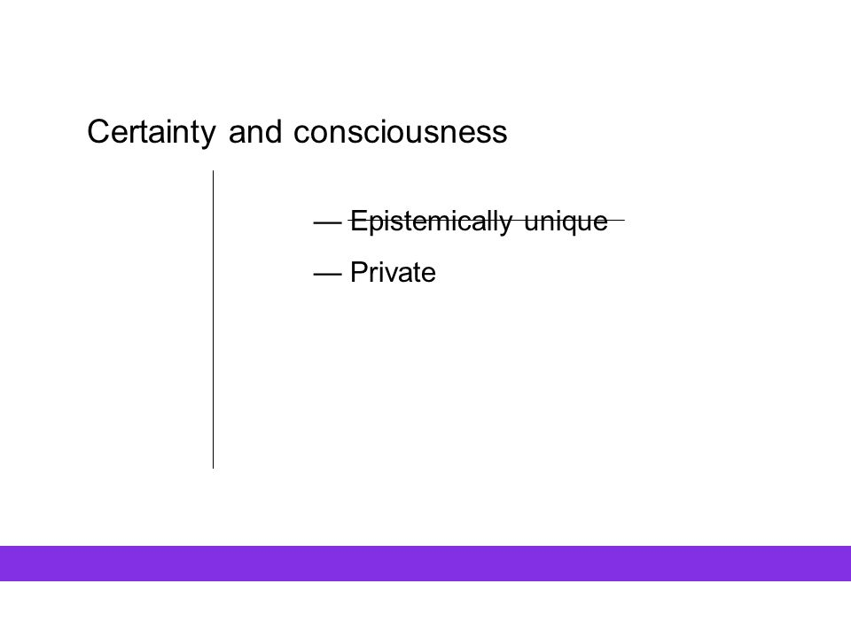 Certainty and consciousness — Epistemically unique — Private