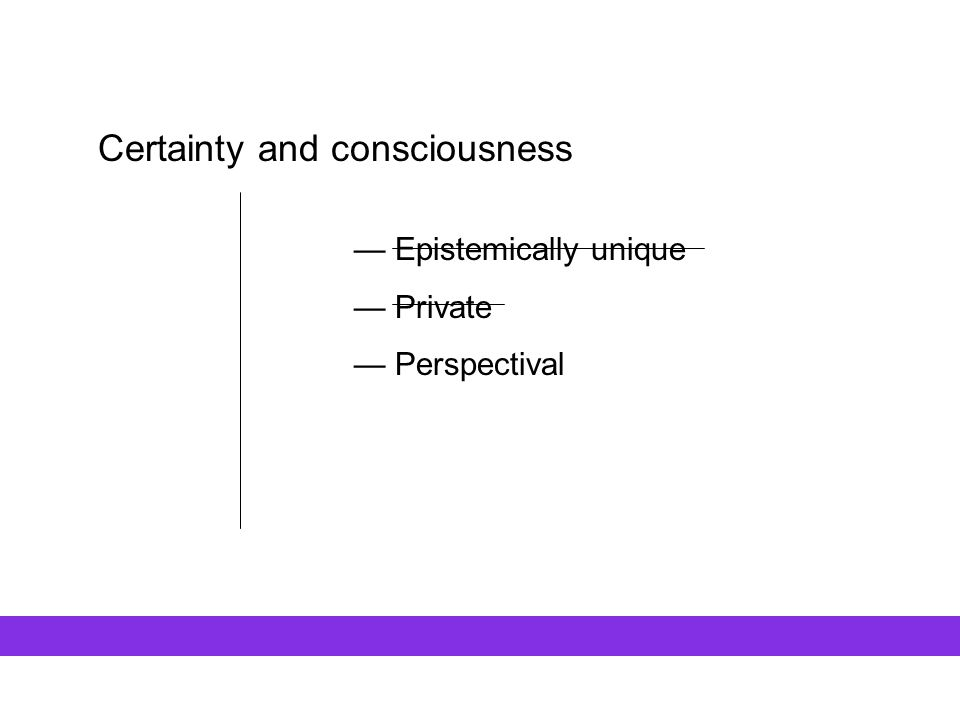 Certainty and consciousness — Epistemically unique — Private — Perspectival