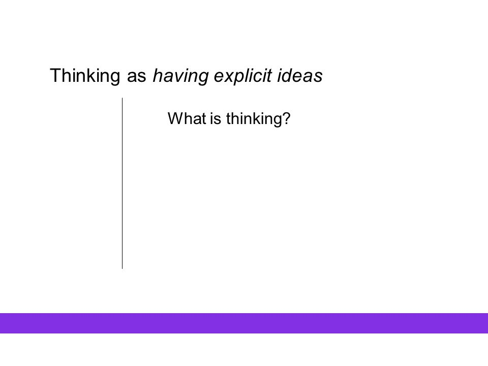 Thinking as having explicit ideas …what is a thinking thing.